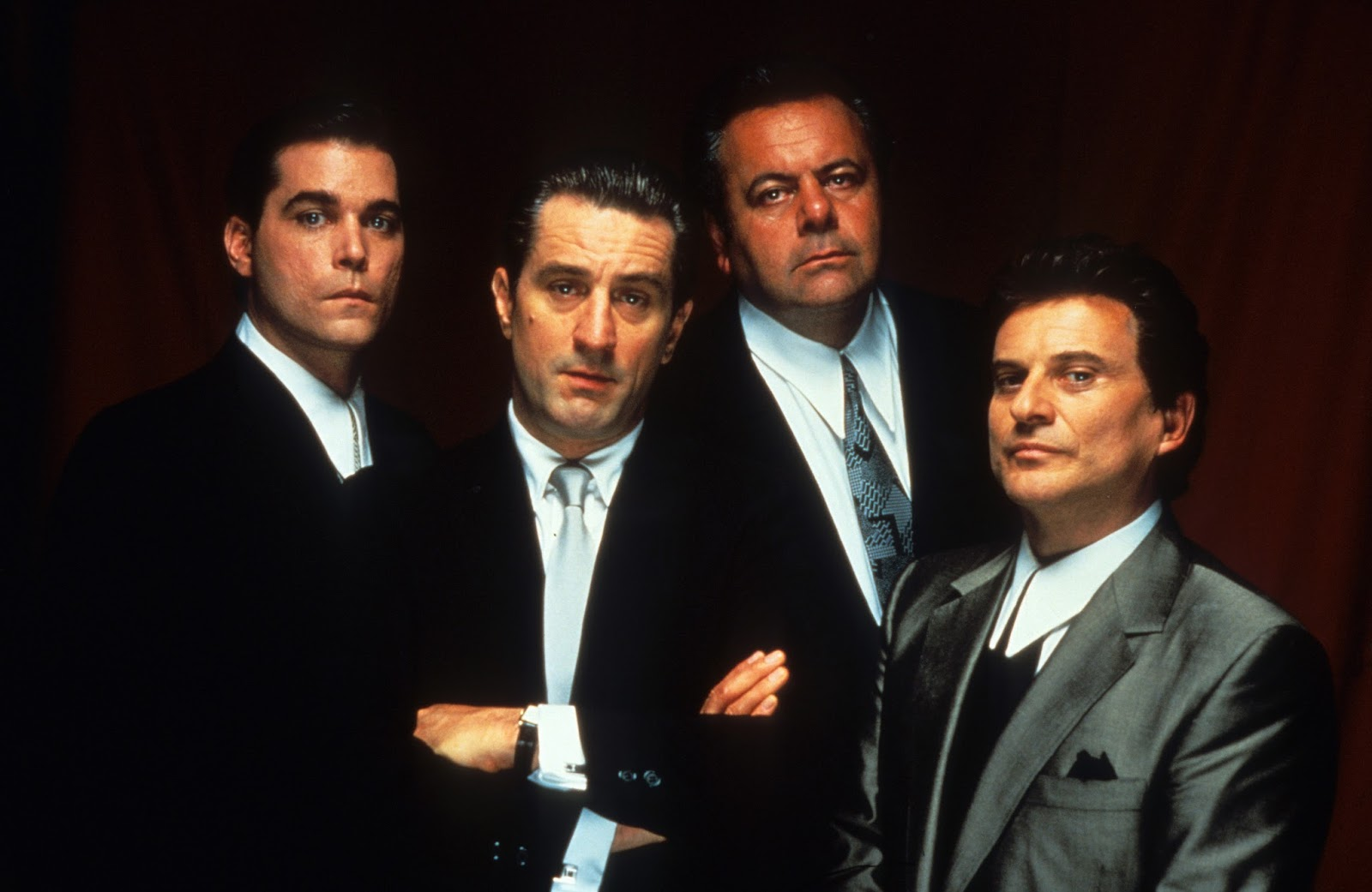 Ray Liotta, Robert De Niro, Paul Sorvino, and Joe Pesci publicity portrait for the film 'Goodfellas', 1990. (Photo by Warner Brothers/Getty Images)