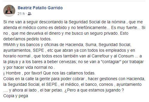 Texto de Beatriz Patallo en Facebook